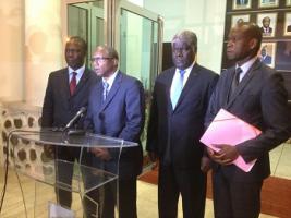 De gauche à droite : Ministre de la Culture, Directeur du CIJF, Gouverneur du District d'Abidjan, Directeur général CNJF