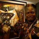 Jeux de la Francophonie Liban 2009 :Le peintre  Nzinga Papou (Congo) - Inauguration des Expositions Palais de l'UNESCO - 27 sept 2009Photo Jean-Yves Ruszniewski / CIJF