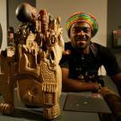 Jeux de la Francophonie  Liban 2009 :le sculpteur Jean Faustin Amougou  (Cameroun)Inauguration des Expositions Palais de l'UNESCO - 27 sept 2009Photo Jean-Yves Ruszniewski / CIJF