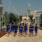 Equipe de France de Football sur le chemin de la Cafetaria - Campus de l'Université Libanaise, village de la FrancophoniePhoto Jean-Yves Ruszniewski /CIJF